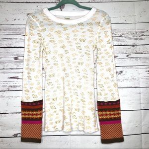 Free People Top with Knit Cuffs